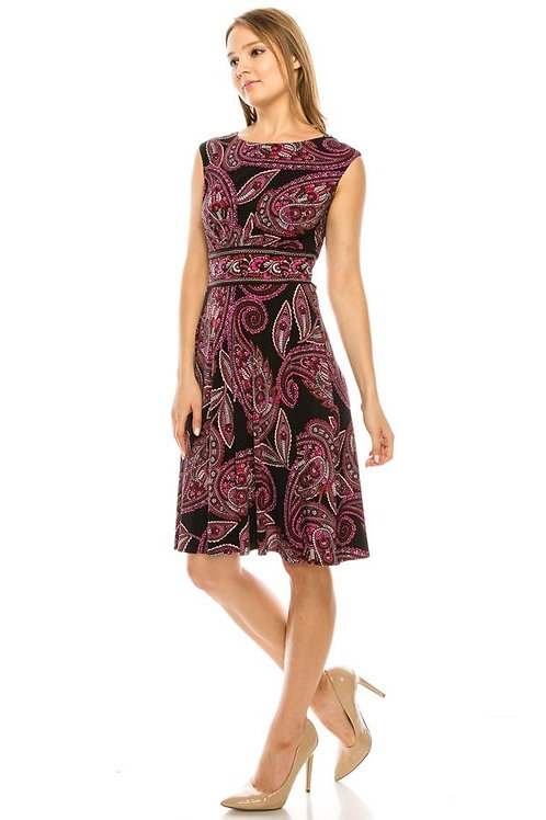 London Times Black and Red Floral Paisley Jersey A-line Dress