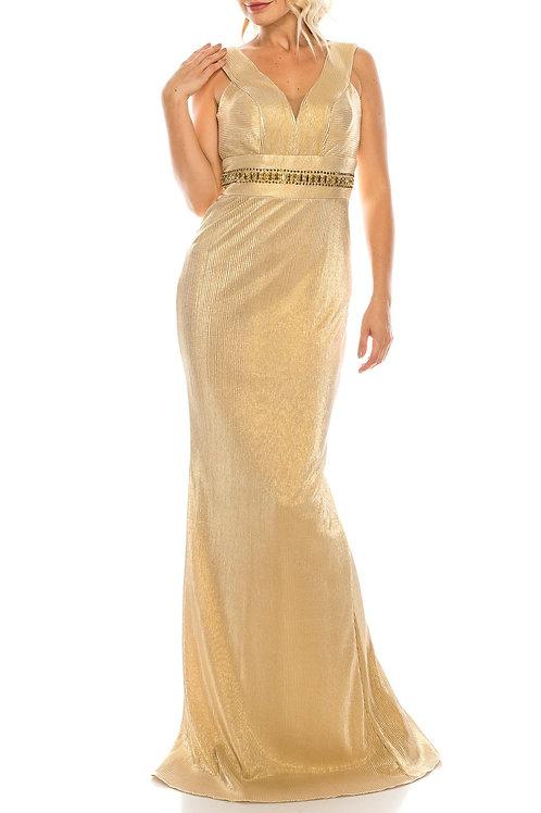 Odrella Gold Ribbed Sleeveless Sheath Evening Gown