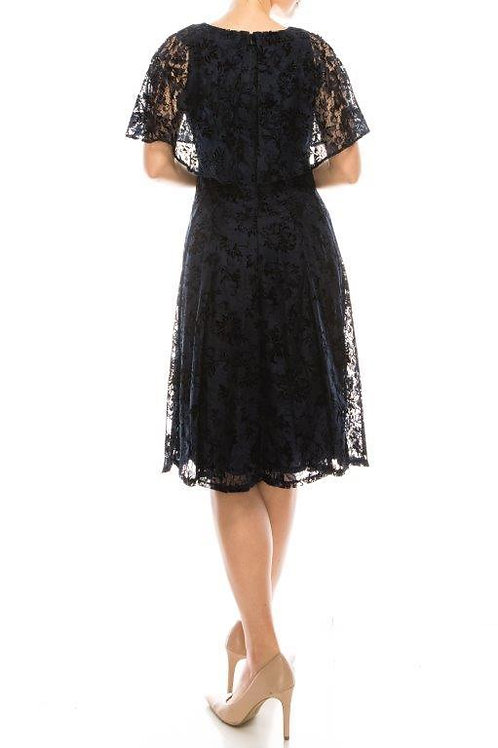 Maison Tara Navy Lace Dress with Attached Capelet
