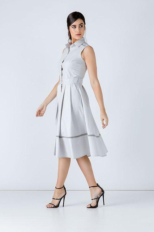 Grey Button Detail Dress