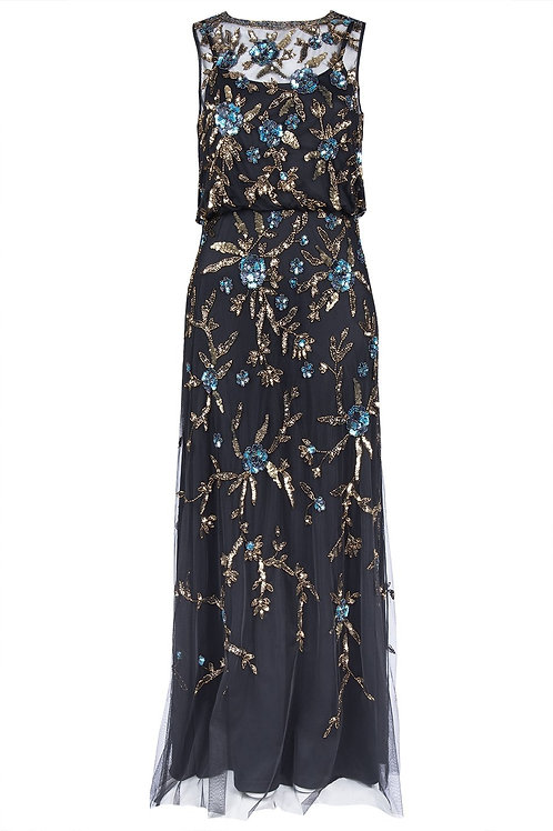 Aidan Mattox Floral Sequin Blouson Gown