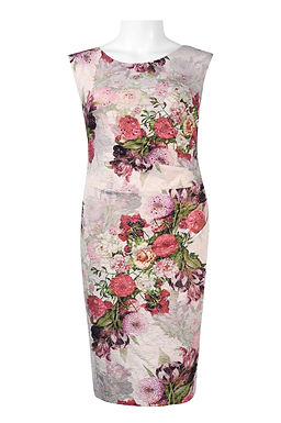 Adrianna Papell Scoop Neck Sleeveless Zipper Back Floral Print