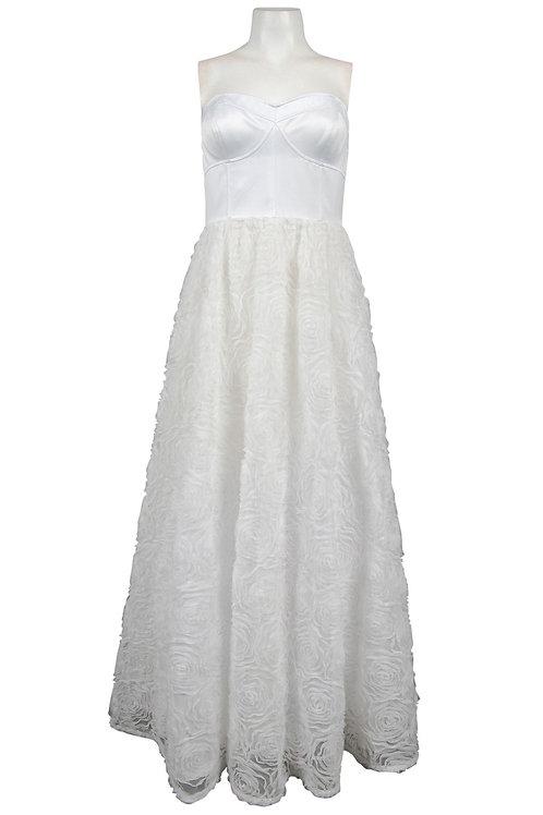 Adrianna Papell Strapless Satin Bodice Mesh Rosette Ball Gown