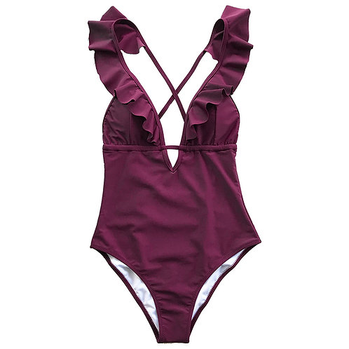 Burgundy Ruffle Cross Backless Swimsuit
