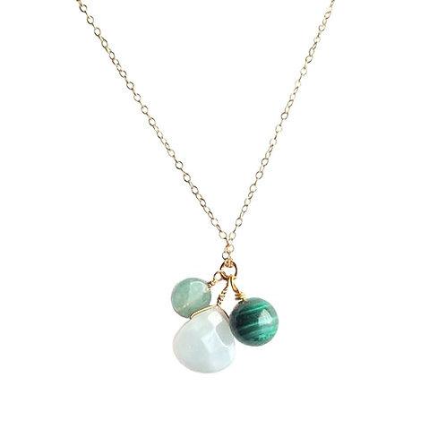 Amazonite, Aventurine and Malachite Gold Filled Necklace