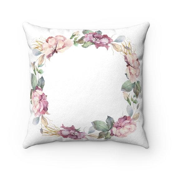 Leia Wreath 2 Faux Suede Square Pillow