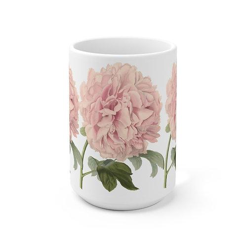 3 Pink Peonies Ceramic Mug 15oz