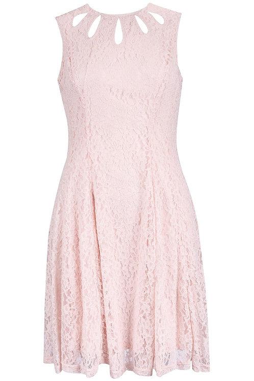 Gabby Skye Sleeveless Jewel Neckline Lace A-Line Dress