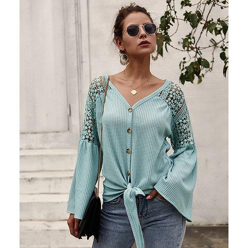 Women V-neck Long Sleeve Hollow Knitwear