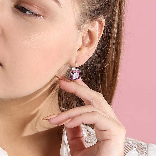 Asscher Cut Swarovski Elements Leverback Earrings