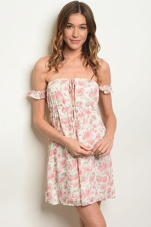 Womens Cream Floral Dress