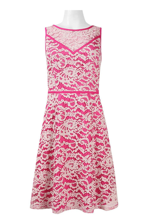 Adrianna Papell Day Boat Neck Sleeveless Floral Cotton Lace Dress