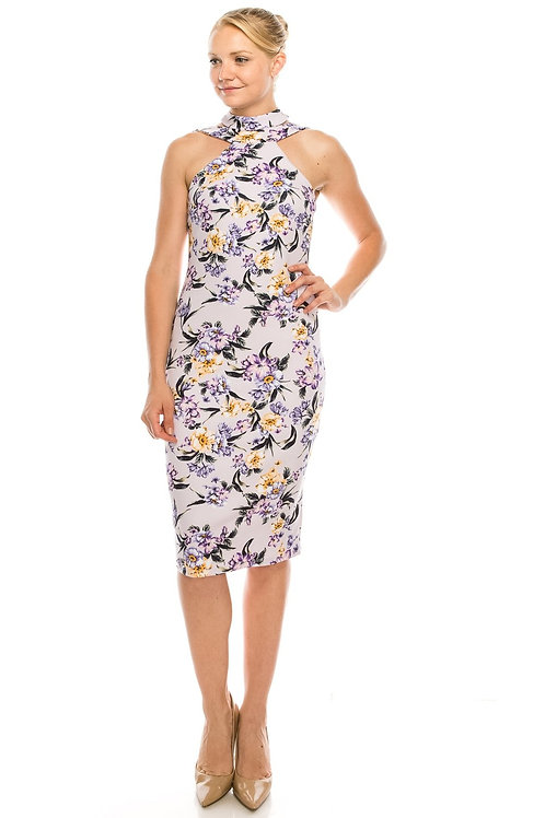 BeBe Lavender Floral Strappy Mock Neck Dress