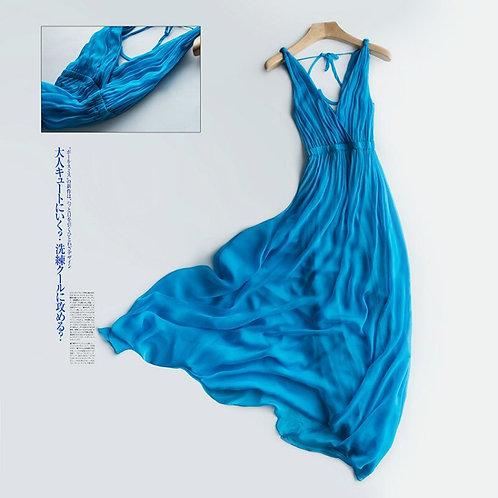 Tcyeek Summer 100% Real Silk Dress Women Maxi Vestidos Korean Long