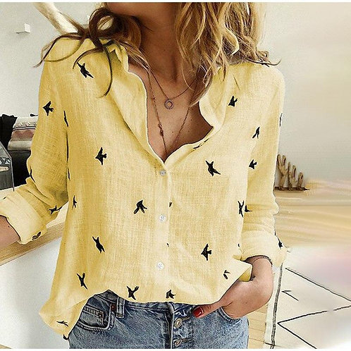 Casual V-neck  button down Blouse