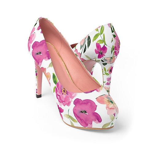 Pink Floral Women's Platform Heels