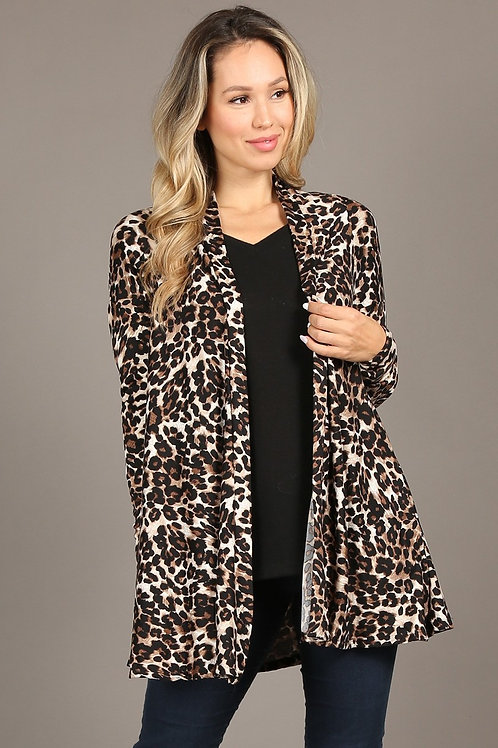 Cheetah Long body cardigan, loose fit, open front, long sleeves.1189