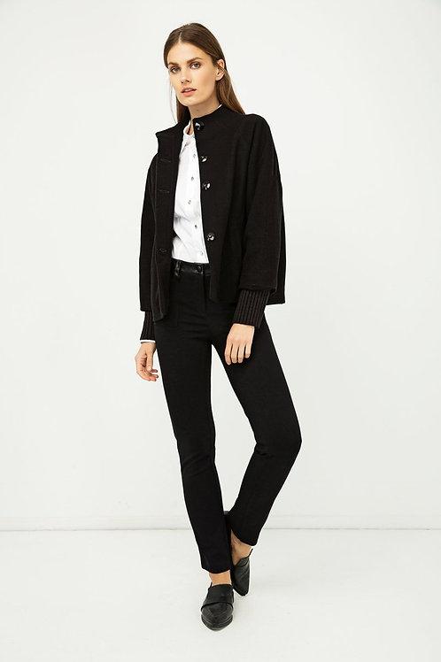 Woollen Black Short Jacket with Knit Cuffs