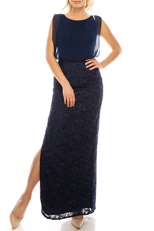 Aidan Mattox Navy Long Blouson Column Evening Dress