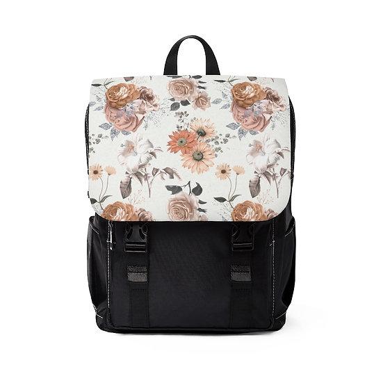 Beige Rose Garden Shoulder Backpack