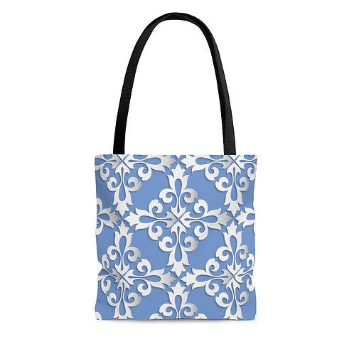 Blue Filigree Tote Bag