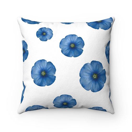 Blue Petals Spun Polyester Square Pillow