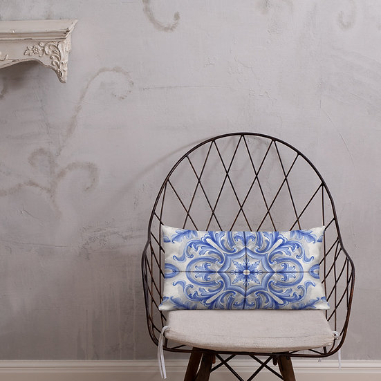 Blue Dutch Tile Premium Pillows