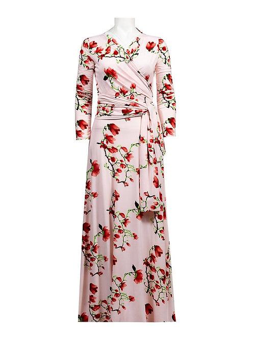 A vibrant, breezy long sleeve V-neck jersey dress with front wrap