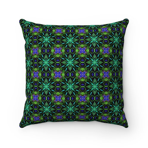 Colorful Window Faux Suede Square Pillow