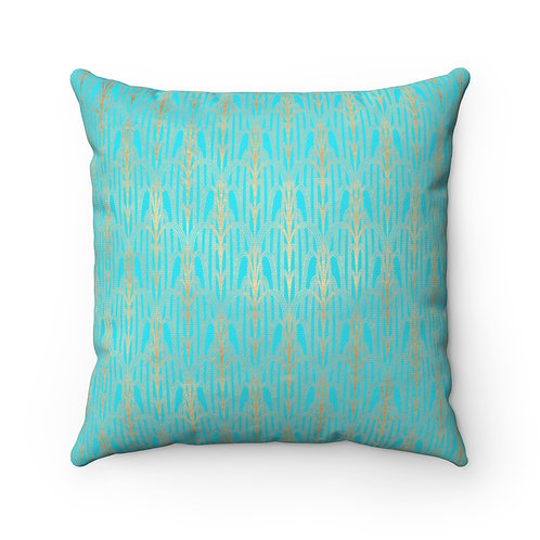 Gold Art Deco/Bright Turquoise Spun Polyester Square Pillow