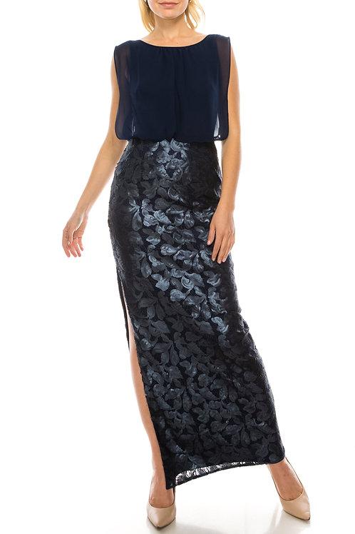 Aidan Mattox Navy Blouson Column Evening Dress