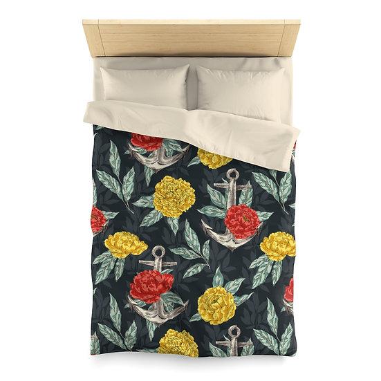 Anchored Floral Microfiber Duvet Cover