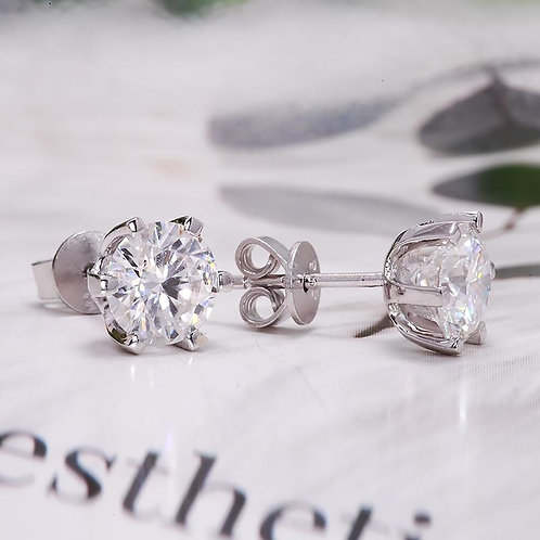 2ctw DEF White Diamond Test Passed Moissanite Silver Earring Jewelry