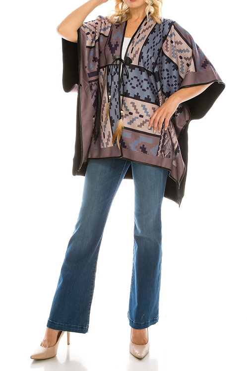 Best Time Fashion Purple Printed Fleece Reversible Poncho