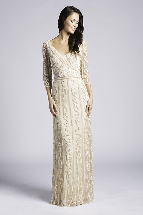 Lara 3/4 Sleeve V-Cut Neckline Beaded Swirl Pattern Long Mesh Dress. Lined.