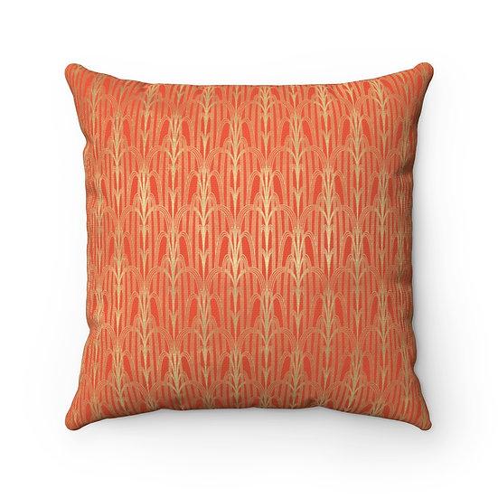 Gold Art Deco/Cinnabar Spun Polyester Square Pillow