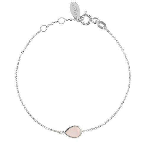 Pisa Mini Teardrop Bracelet Silver Rose Quartz