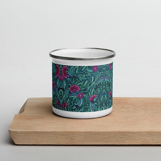 Green Fantasy Jungle Enamel Mug