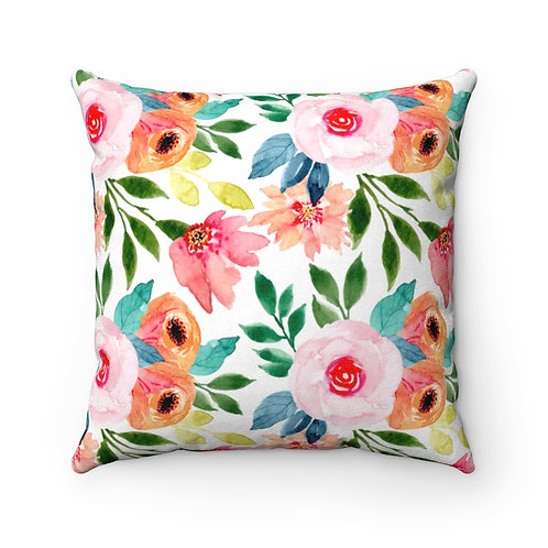 Pink and Peach Faux Suede Square Pillow