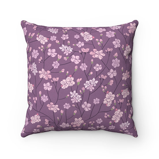 Cherry Blossom Faux Suede Square Pillow