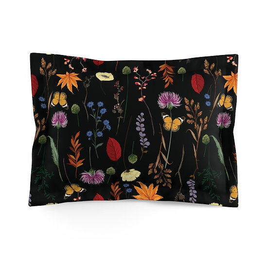Midnight Wildflowers Microfiber Pillow Sham