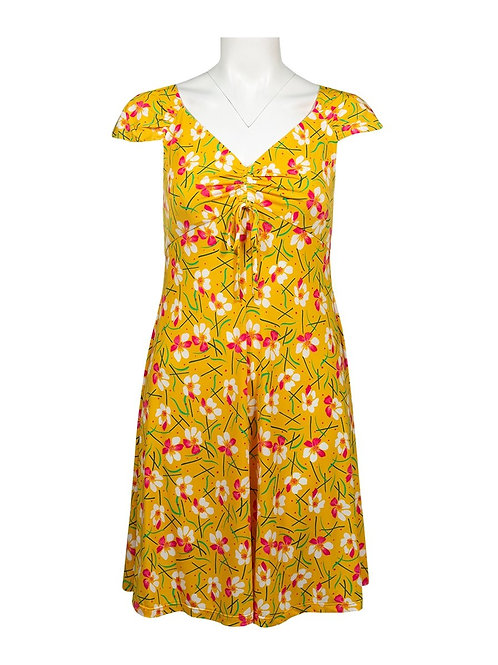 An elegant, vibrant sleeveless jersey dress with front cinch tie at