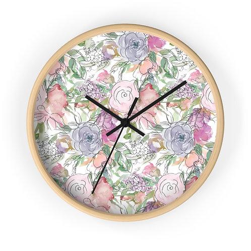 Pastel Rose Garden Wall clock
