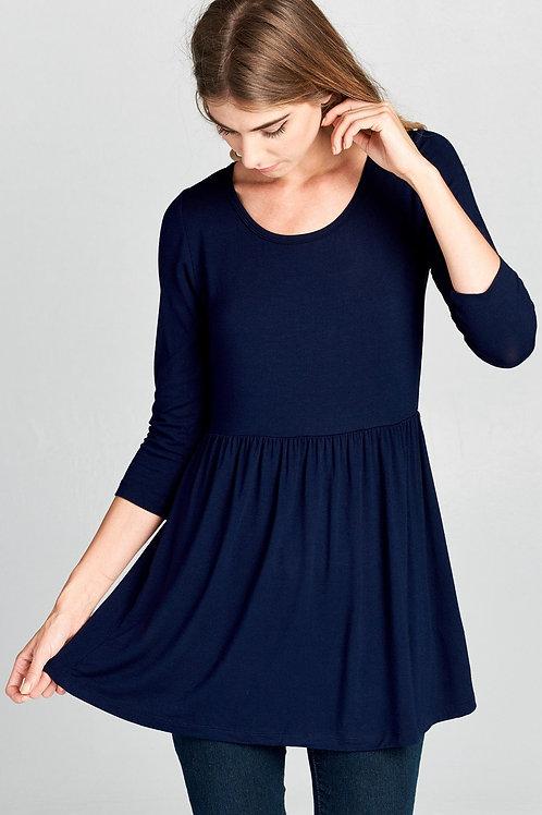 Basic 3/4 Sleeve Cinched Waist Soft Tunic Top