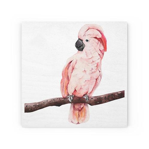 Pink Cockatoo Wood Canvas