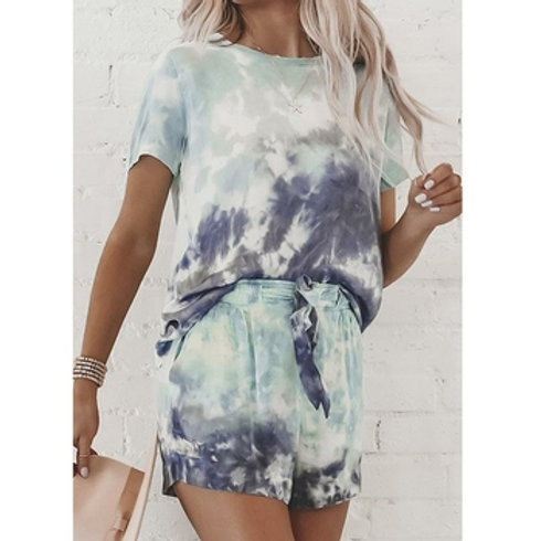 Casual Women Suit Set Summer Tie Dye Set Streetwear