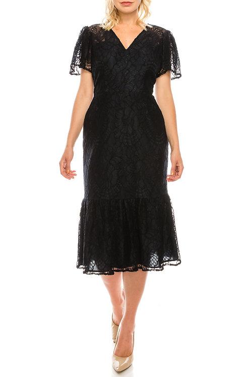Maggy London Dark Navy Lace Sheath Dress