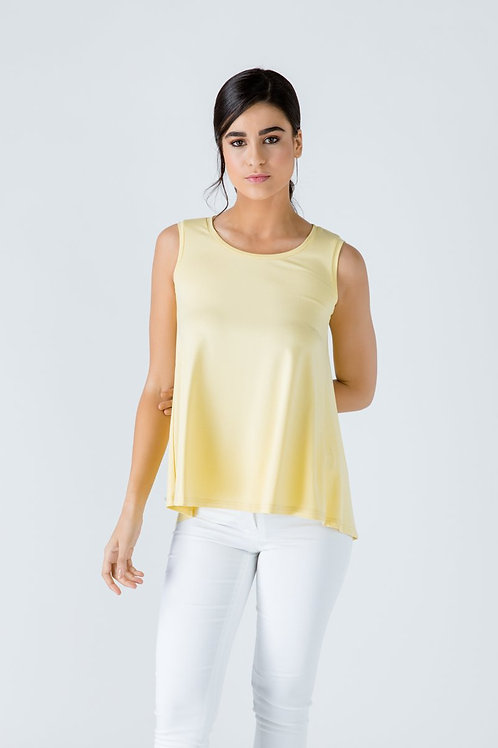 Yellow Sleeveless Top with Rounded Hemline