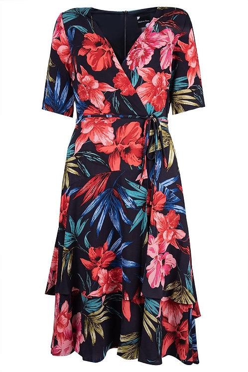 Maison Tara Floral Illusion Wrap Midi Dress