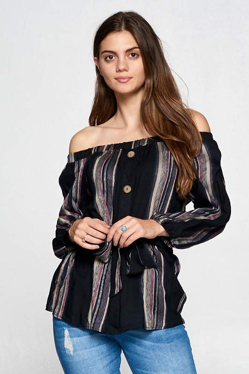 Striped Off the Shoulder Top with Waist Tie and Buttons
